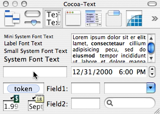 Cocoa Text palette